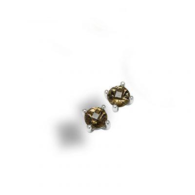 Diamant_Rund Rauchquarz_Ohrstecker