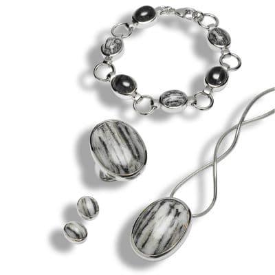 Schweizer Kristallschmuck: Streifengneis_Schmuck_SET gross mit Bracelette