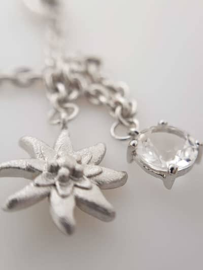 Armband Kristall Edelweiss 925 Sterling Silber