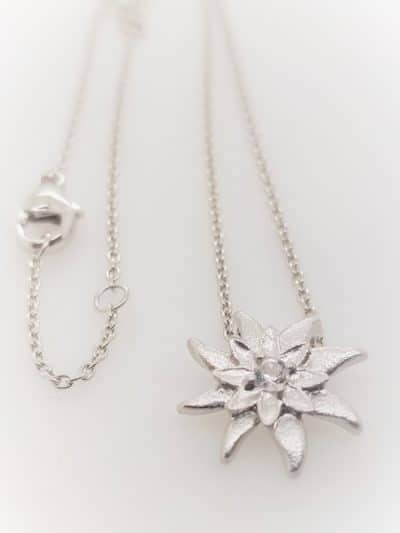 Halskette Kristall Edelweiss Sterling Silber